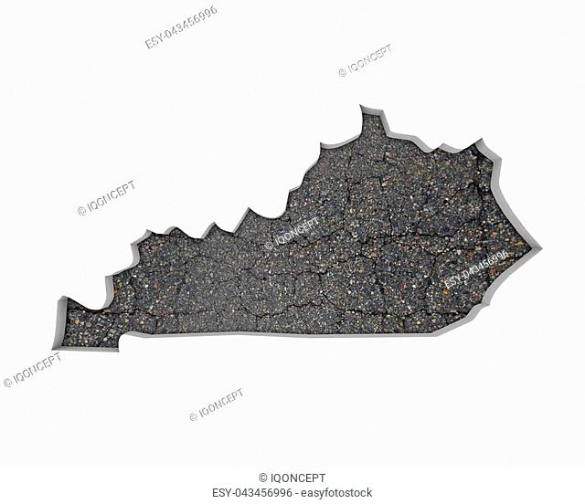 Kentucky KY Road Map Pavement Construction Infrastructure 3d Illustration