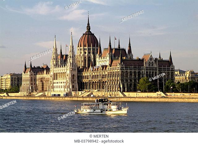Hungary, Budapest, view at the city, parliament,  River Danube, ship,  Europe, Central Europe, capital, sight, landmarks, buildings, construction, architecture