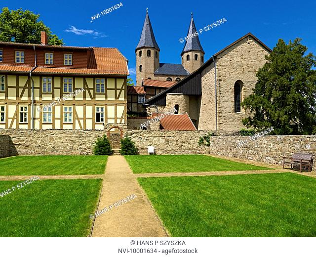 Garden of Silence and St. Bartholomew abbey church, Druebeck, Saxony-Anhalt Germany