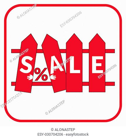 Colorful sale icon on the stylized fence. Icon for special offer. Sale typography background. Red fence with the sale label on a white background