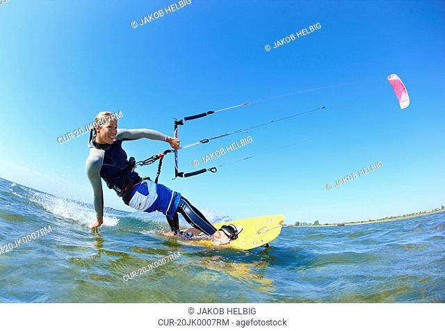 Female kitesurfer
