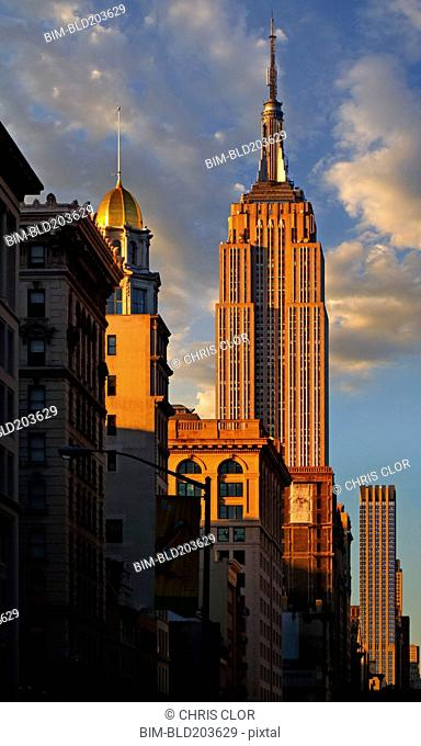 Skyscrapers and blue sky, New York, New York, United States