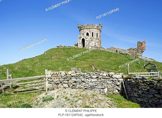 The Tower, observatory of the Brough Lodge, 19th-century Gothic mansion on the island Fetlar, Shetland Islands, Scotland, UK