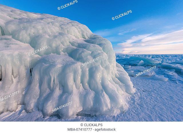 The rock covered by ice, lake Bajkal, Irkutsk region, Siberia, Russia