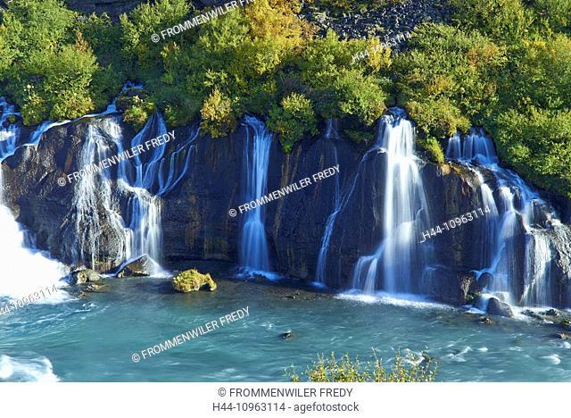 Creek, cliff, river, flow, Hraunfossar, Iceland, shrubs, bushes, waterfall, Europe, holidays, travel