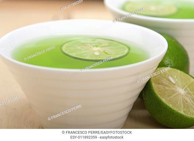 fresh and healthy green lime lemonade macro closeup