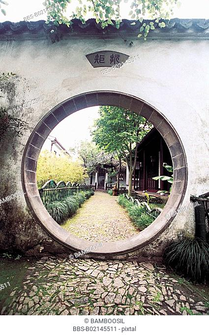 View through entrance of gardens in Lingyan Mountain in the old town Mudu, Suzhou City, Jiangsu Province of People's Republic of China