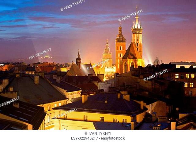 Krakow at dusk