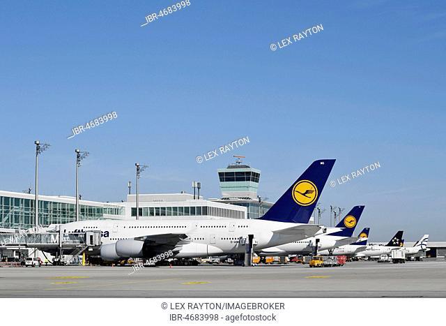 Lufthansa, Airbus, A380-800, Terminal 2, Munich Airport, Upper Bavaria, Bavaria, Germany