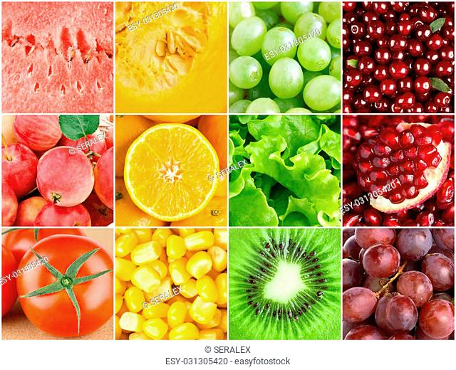 Healthy food background. ?ollection with different color fruits, berries and vegetables