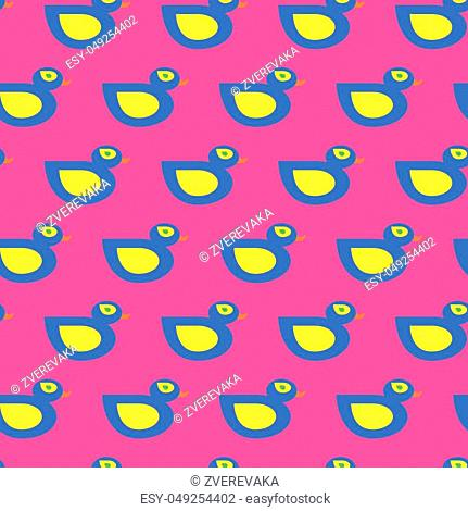 Seamless vector blue duck pattern on pink background for wrapping, craft, fabric, textile