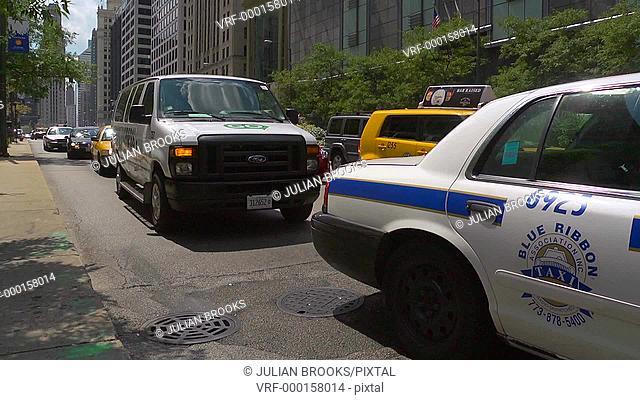 Chicago street scene, time lapse. Traffic queue