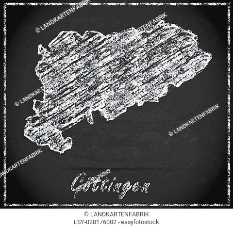Map of Goettingen as chalkboard in Black and White
