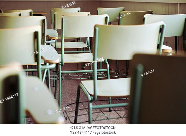 Chairs in an empty class