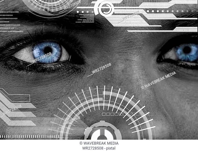 Eyes of woman looking at computing digital interface