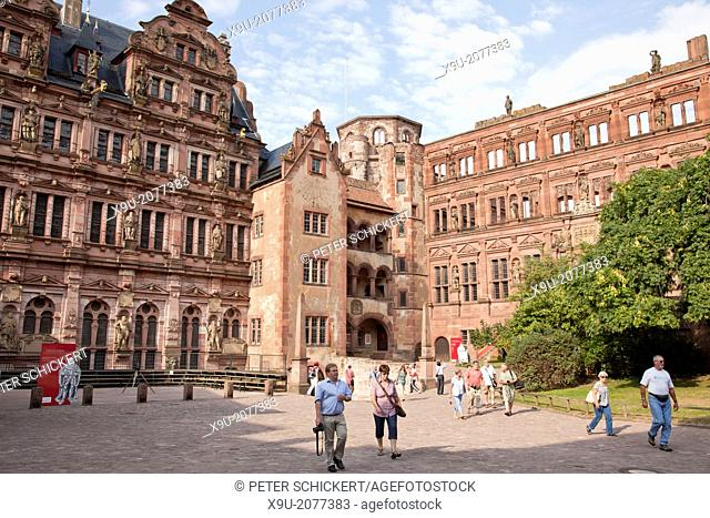 Courtyard of Schloss Heidelberg in Heidelberg, Baden-Württemberg, Germany