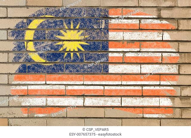 flag of malaysia on grunge brick wall painted with chalk