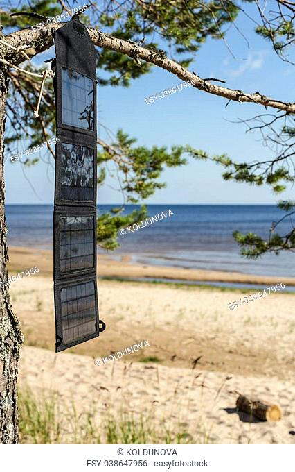 Portable foldable solar panel battery hanging on the outdoors on a pine tree on the seashore near the sandy beach