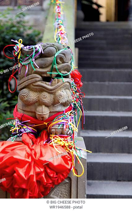 Decorated temple foo dog statue in Chongqing, China