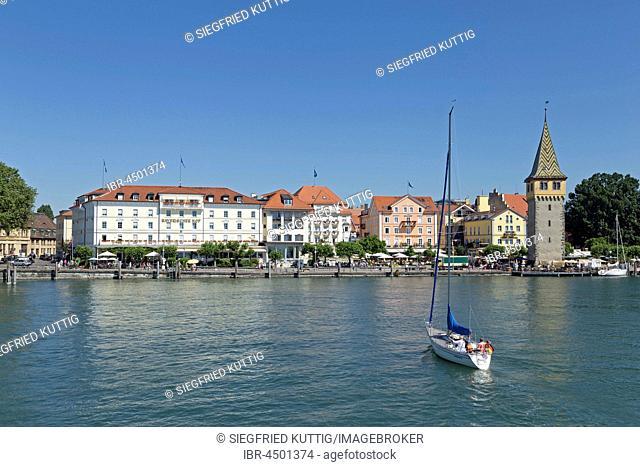 Harbor with Mangenturm, Lindau, Lake Constance, Bavaria, Germany
