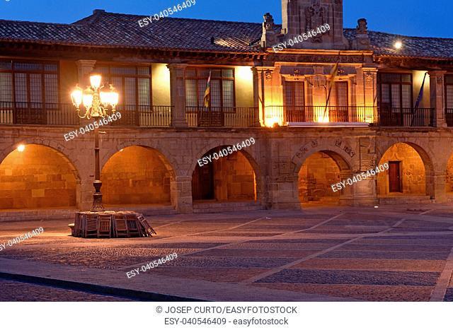 Main square of Santo Domingo de la Calzada, La Rioja, Spain