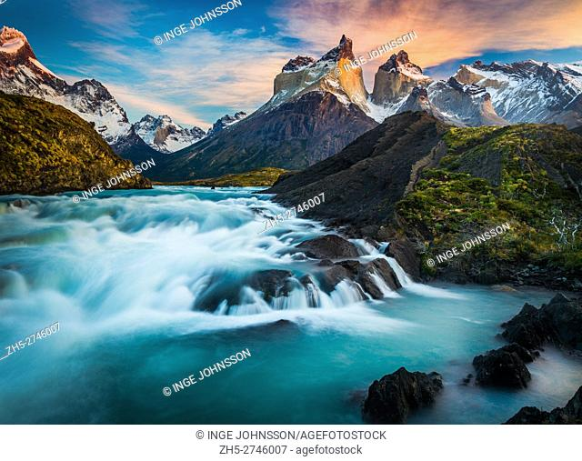 Torres del Paine National Park is a national park encompassing mountains, glaciers, lakes, and rivers in southern Chilean Patagonia