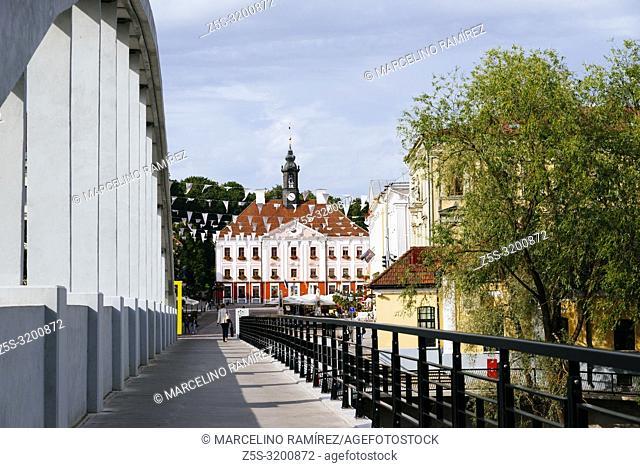 Pedestrians arch bridge in Tartu over Emajõgi - Mother river - in the background Town Hall Square. Tartu, Tartu County, Estonia, Baltic states, Europe