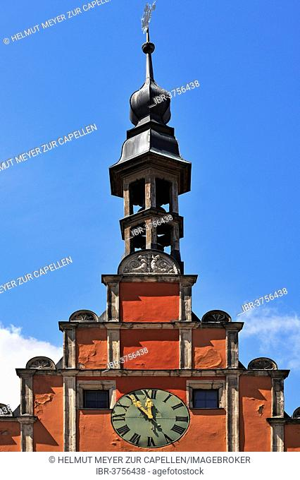 Bell Tower, clock dormer and baroque ridge turret, former Ratstrinkstube, the so-called Gustav Adolf House, 1550, Dinkelsbühl, Middle Franconia, Bavaria