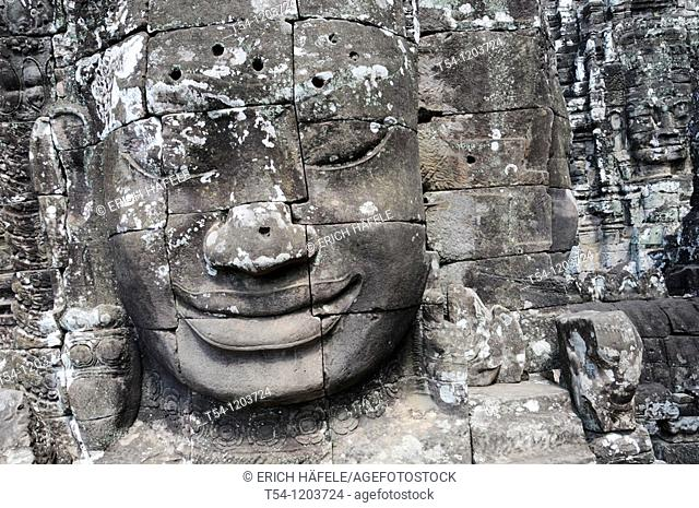 Face of the Lokeshwaram in Bayon Temple in Angkor