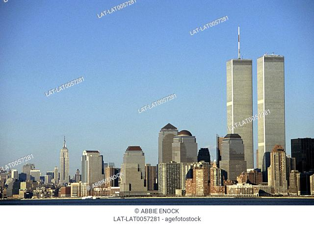 Pre-9/11 Manhattan skyline,with the World Trade Centre,along the Hudson River against a clear blue sky