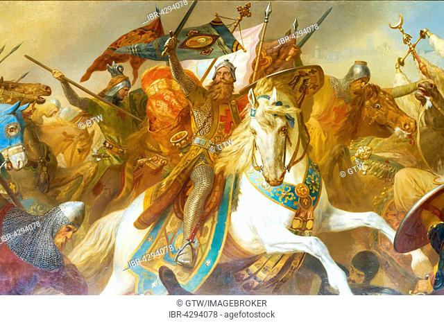 Imperial Hall, mural of Frederick Barbarossa in battle against Islamic army, Battle near Iconium, Imperial Palace, Kaiserpfalz, UNESCO World Heritage Site