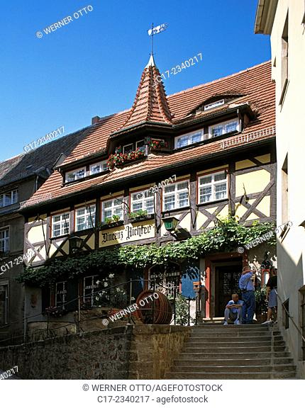 Germany. Meissen, Elbe, Triebisch, Meisa, Saxony, historic wine tavern Vincenz Richter, wine house, guesthouse, restaurant, public house, half-timbered house
