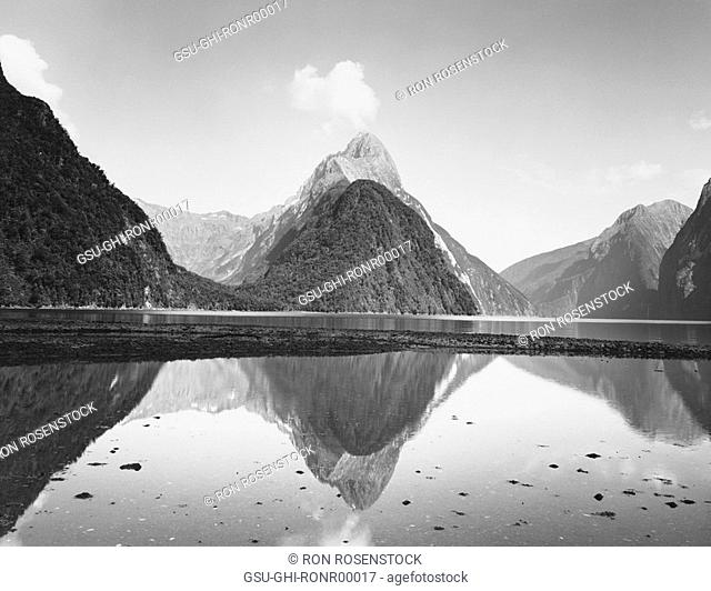 Mountains Reflection in Water, Milford Sound, New Zealand