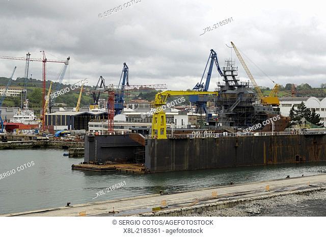 Construction of a sea rescue boat in a shipyard