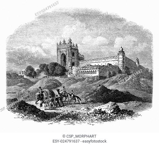 Futtehpore, in the country of Oude, on the road from Varanasi to Lucknow and Cawnpore, vintage engraving