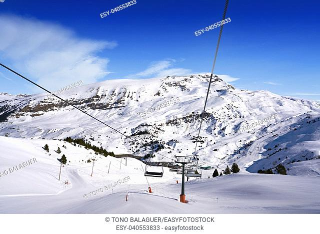 Cerler sky area in Pyrenees of Huesca at Spain