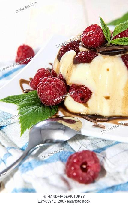 Homemade Raspberry Vanilla Pudding with fresh fruits and chocolate sauce