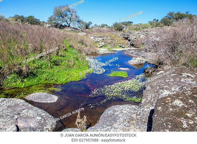 Berrocal of Rugidero at Cornalvo Natural Park, Extremadura, Spain. Muelas river course