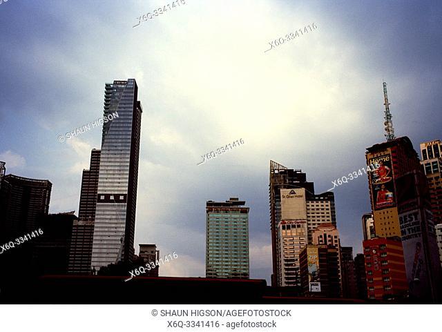 Manila skyline and Trump Tower in Makati in Manila in Luzon Metro Manila in the Philippines in Southeast Asia Far East
