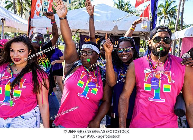 Florida, Miami Beach, Lummus Park, Gay Pride Week, LGBTQ, LGBT, Miami Beach Pride Festival, Black, man, woman, dancing, MetroPCS, corporate sponsor