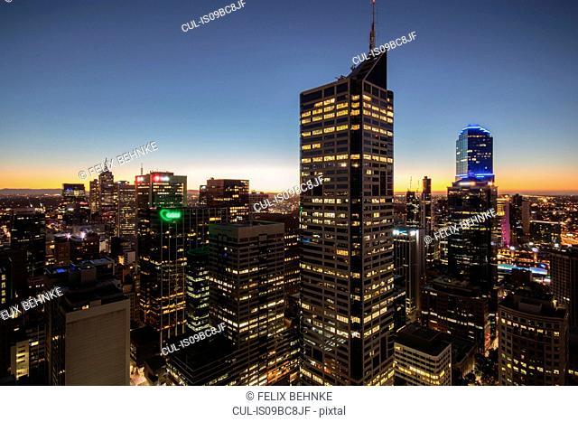 Skyscapers illuminated at sunset, Melbourne, Victoria, Australia