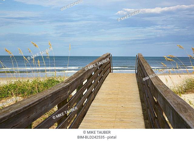 Walkway leading to beach, Ponce Inlet, Florida, United States