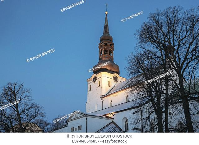 Tallinn, Estonia. Evening View Of Cathedral Of Saint Mary Virgin Or Dome Church In Night Illuminations. Toomkirik Located On Toompea Hill