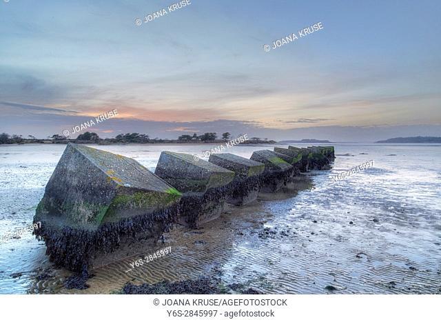 tank defence at Shell Bay, Studland, Shell Bay, Dorset, England, UK