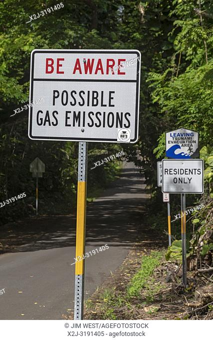 Pahoa, Hawaii - A sign near the lava flow from the 2018 eruption of the Kilauea volcano warns residents of possible dangerous gas emissions