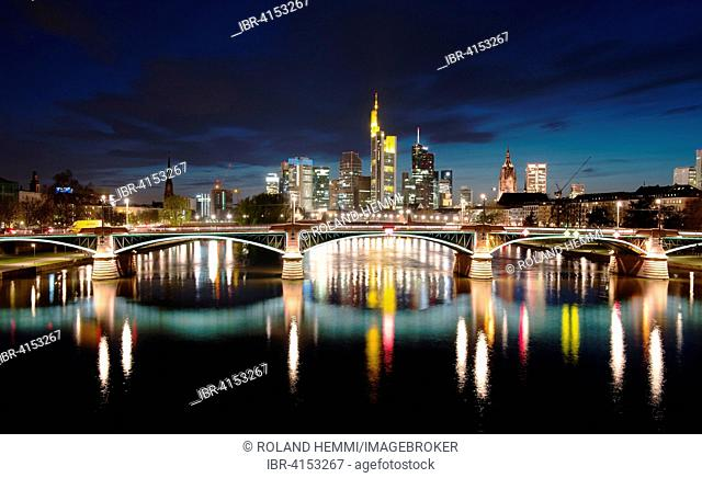 River Main and Financial District during blue hour, Frankfurt am Main, Hesse, Germany