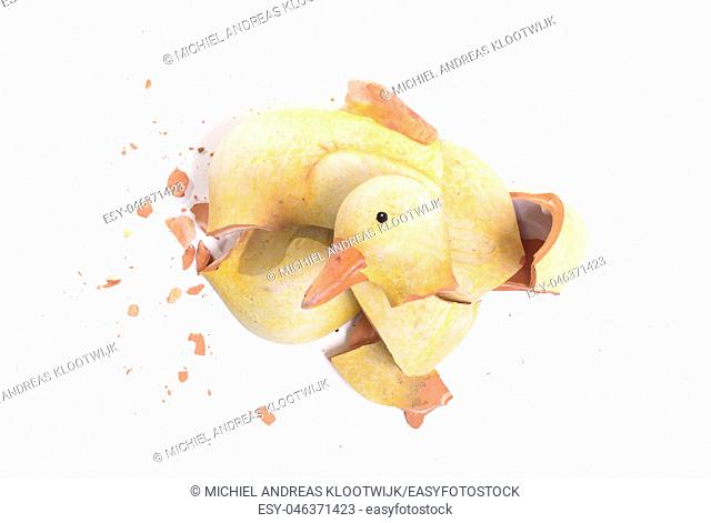 Broken statue of a duckling, isolated on white