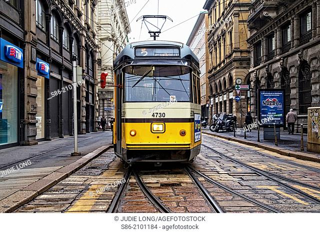 Milan, Italy Street Car About to Start Moving afer Leaving a Stop