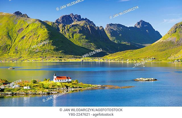 Red church on Austnesfjord, Lofoten Islands, Norway