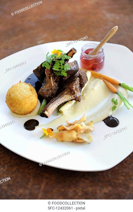 Lamb chops with various sides